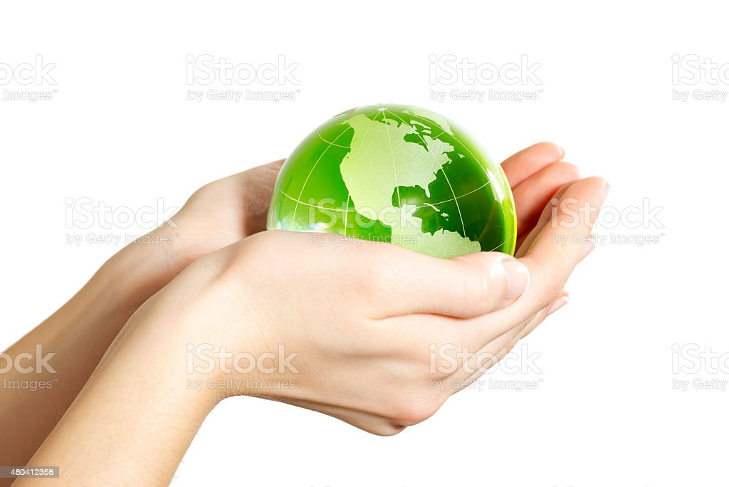 Hand holding the Earth isolated America stock photo