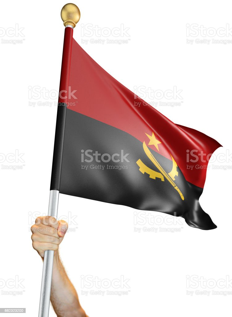 Hand holding the flag of Angola isolated on a white background, 3D rendering stock photo