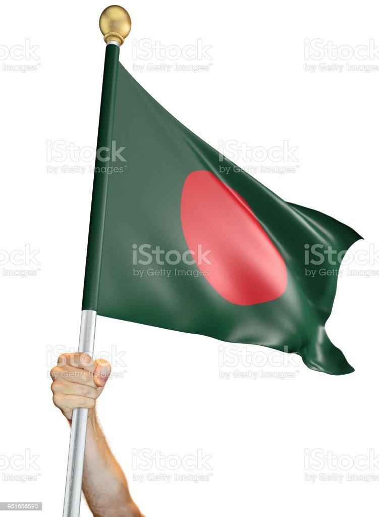 Hand hält die Fahne von Bangladesch isoliert auf weißem Hintergrund, 3D rendering – Foto