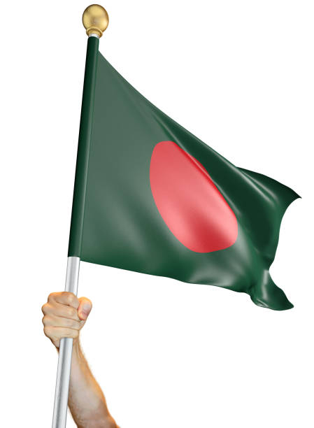 Hand holding the flag of Bangladesh isolated on a white background, 3D rendering stock photo