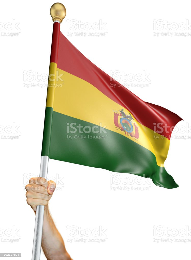 Hand holding the flag of Bolivia isolated on a white background, 3D rendering stock photo