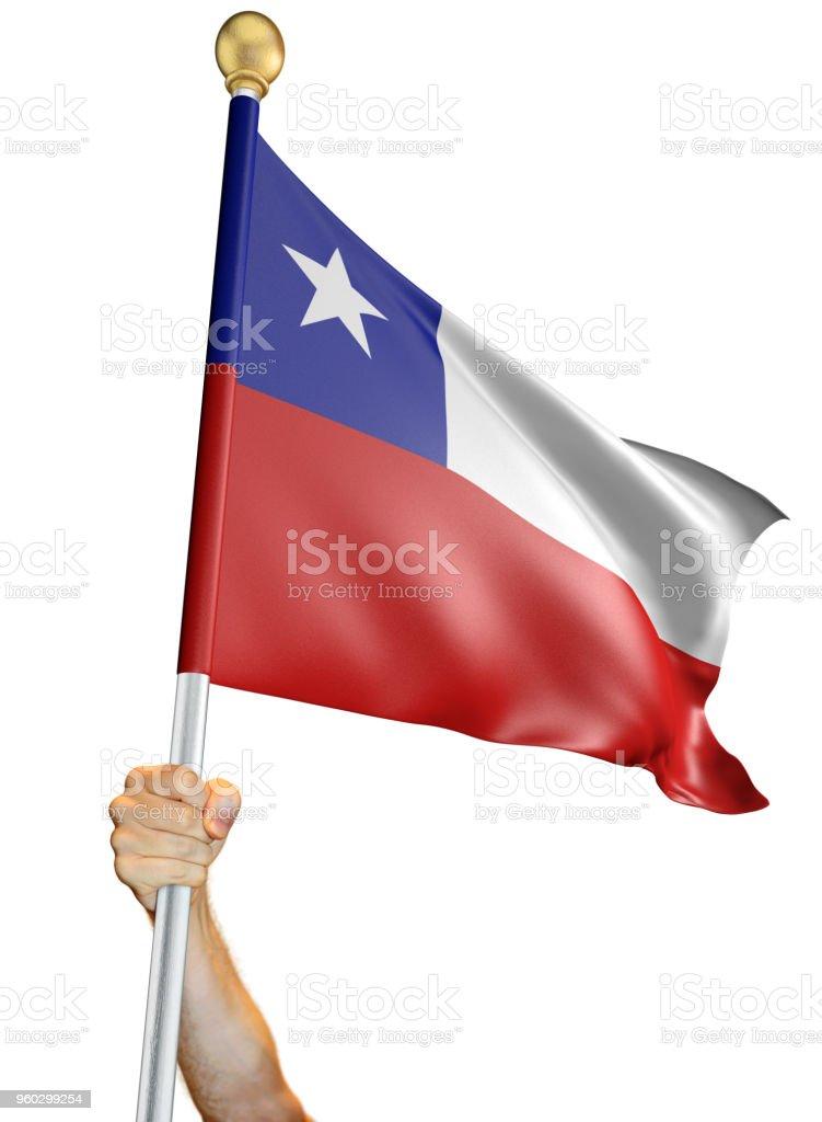 Renderização de mãos dadas, que a bandeira do Chile isolada em um fundo branco, 3D - foto de acervo
