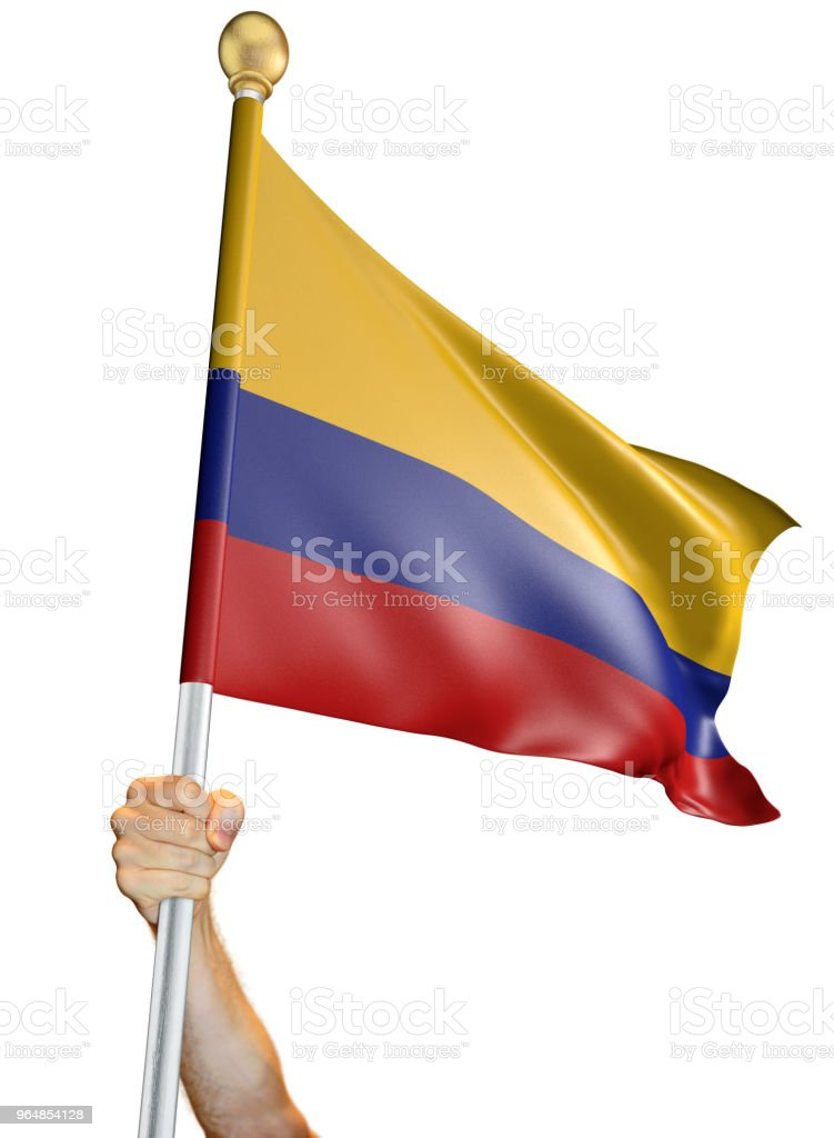 Hand holding the flag of Colombia isolated on a white background, 3D rendering royalty-free stock photo
