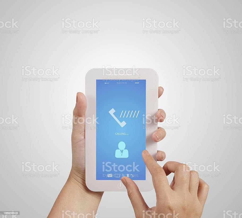hand holding  touch phone with blue screen royalty-free stock photo
