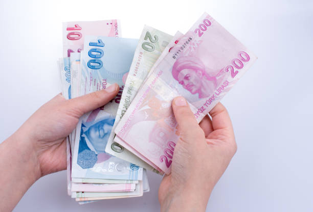 Hand holding Turksh Lira banknotes  in hand stock photo
