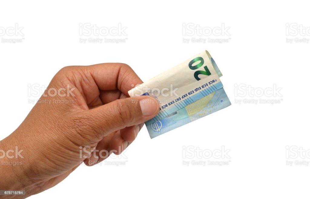 Hand Holding Twenty Euro Bank Note 免版稅 stock photo
