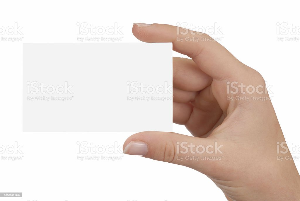 A hand holding up a blank, white business card - Royalty-free Blank Stock Photo