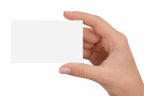 A Hand Holding Up A Blank White Business Card Stock Photo - Download Image Now