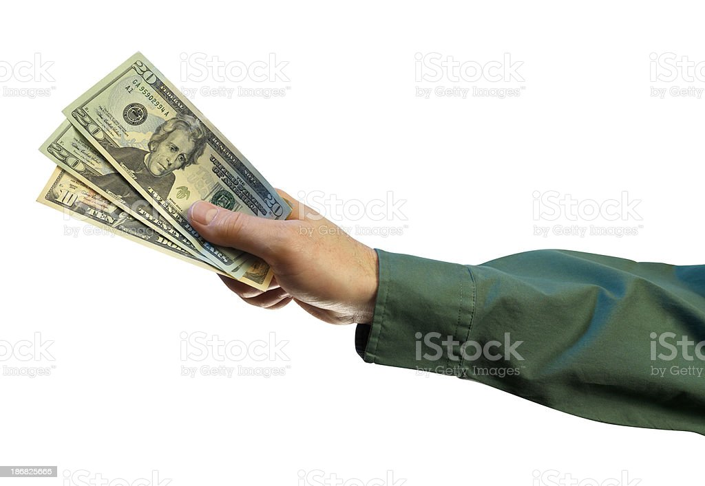 Hand holding US dollar bills, white background royalty-free stock photo