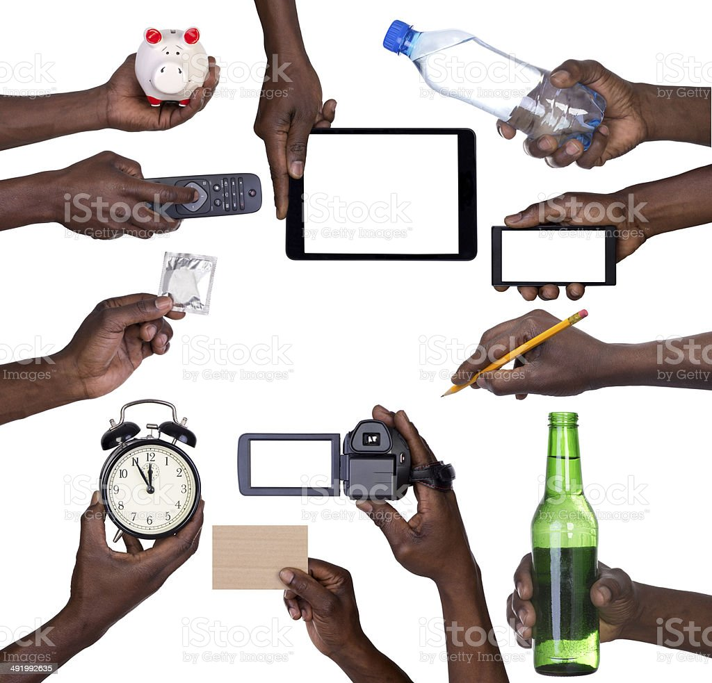 Hand holding various objects stock photo
