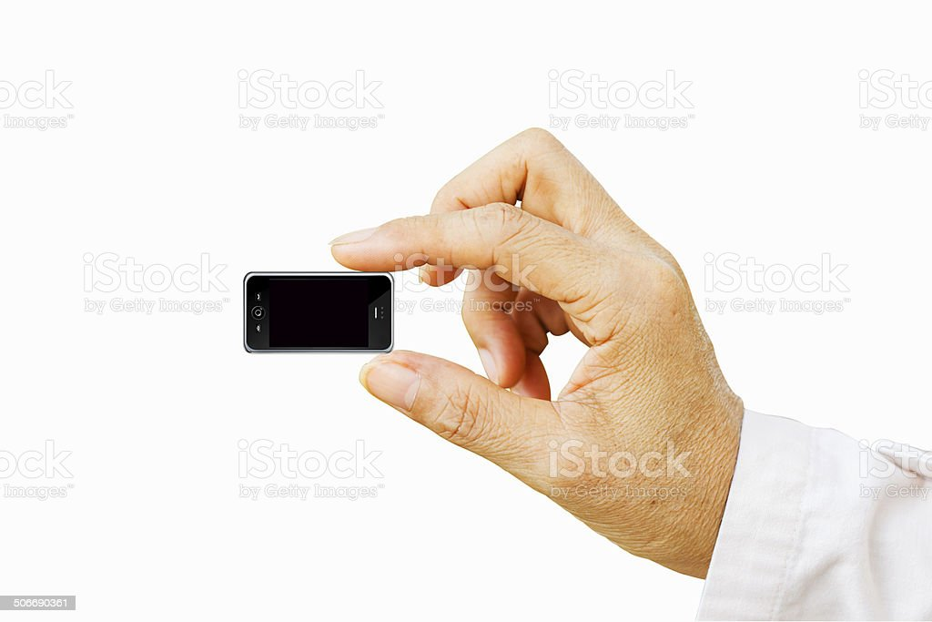 Hand holding very small mobile smart phone royalty-free stock photo