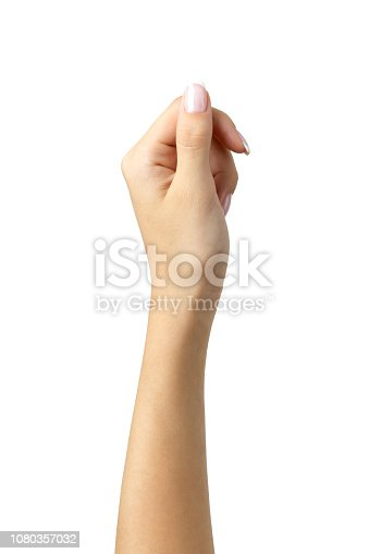 Hand holding virtual card gesture