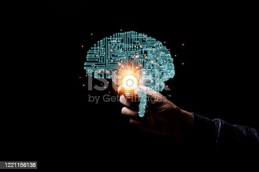 585087100 istock photo Hand holding virtual illustration infographic brain with glowing light  . Brain is centralise to control creativity  idea memory and psychology. 1221156138