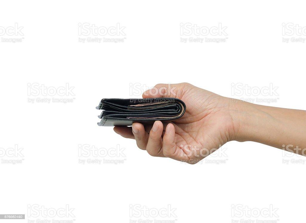 Mano agarrando cartera - foto de stock