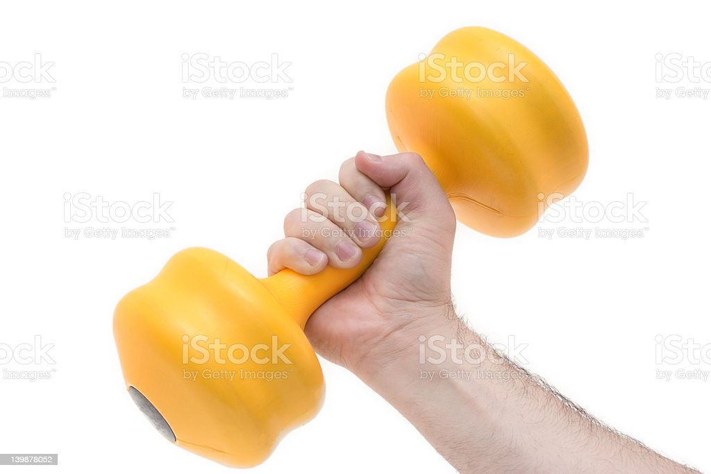Hand holding weights royalty-free stock photo