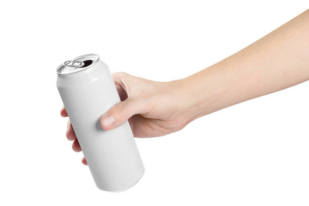 Hand holding white aluminium can on white Hand holding white aluminium can, isolated on white background volume fluid capacity stock pictures, royalty-free photos & images