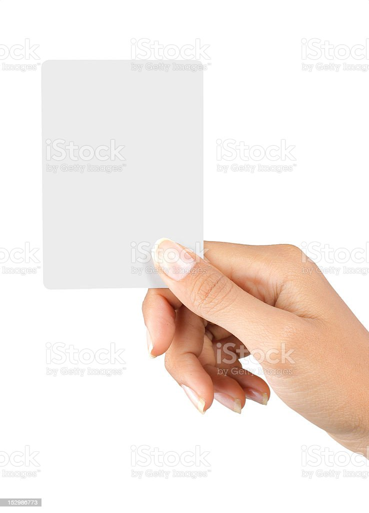 hand holding white blank card royalty-free stock photo