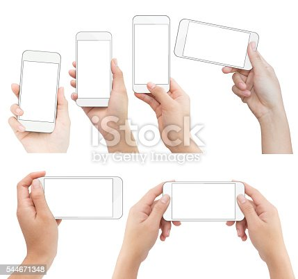 istock hand holding white phone isolated with clipping path on white 544671348