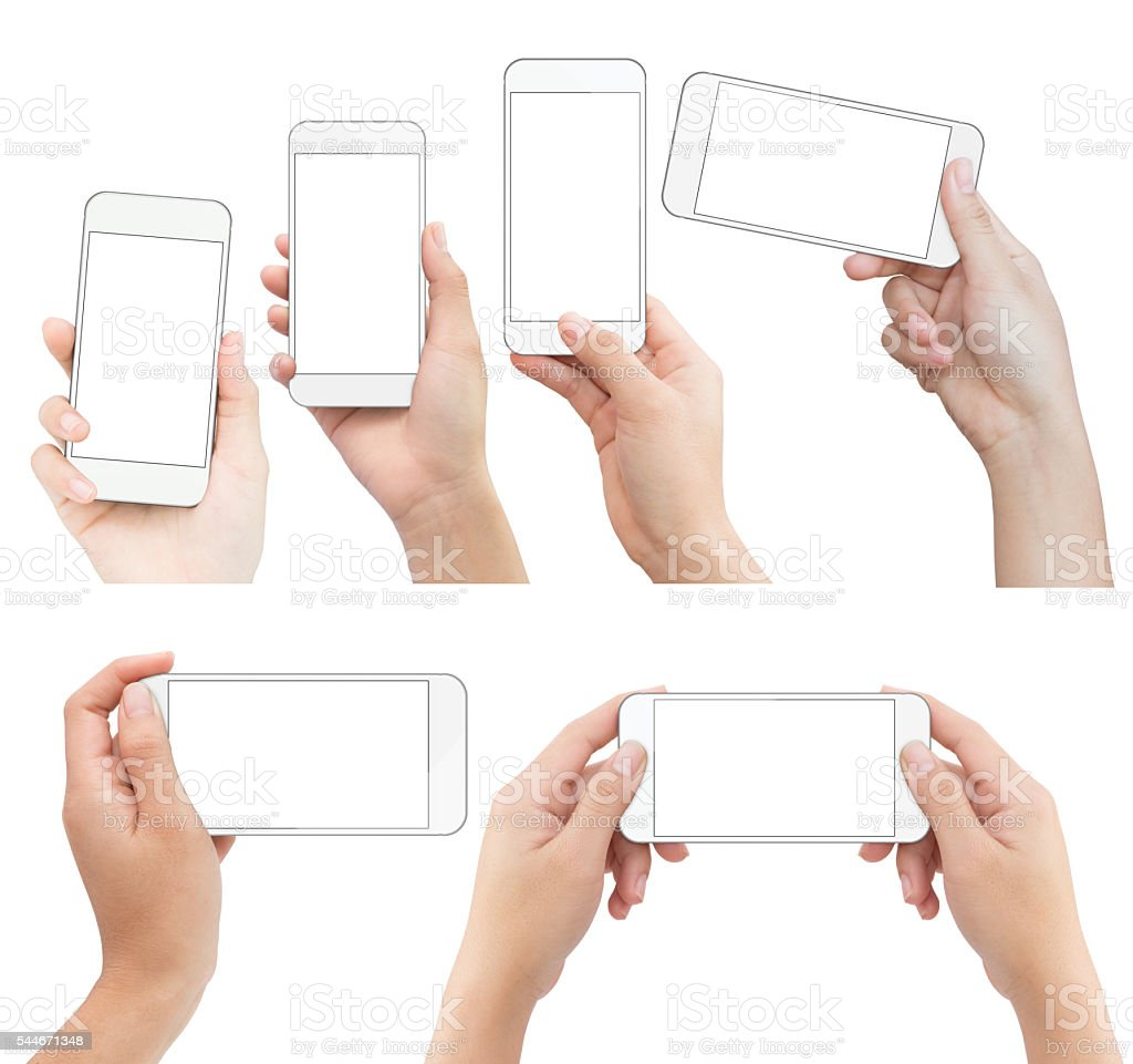 hand holding white phone isolated with clipping path on white stock photo