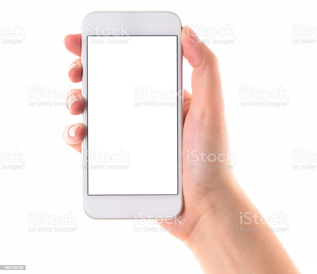 Hand holding white screen smart phone stock photo