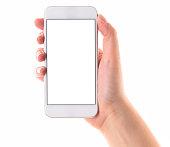Hand holding white screen smart phone