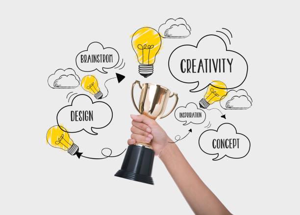 Hand, die Trophäe Pokalsieger. Konzept für neue Ideen mit Innovation und Kreativität. – Foto