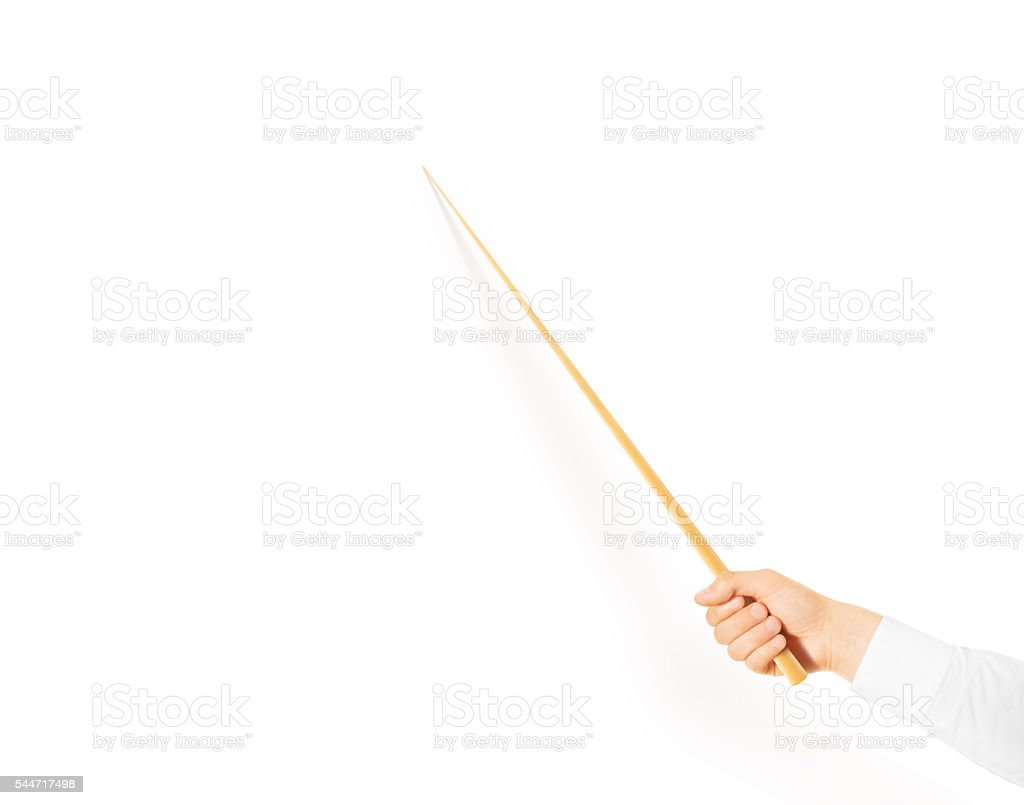Hand holding wood classroom pointer isolated stock photo