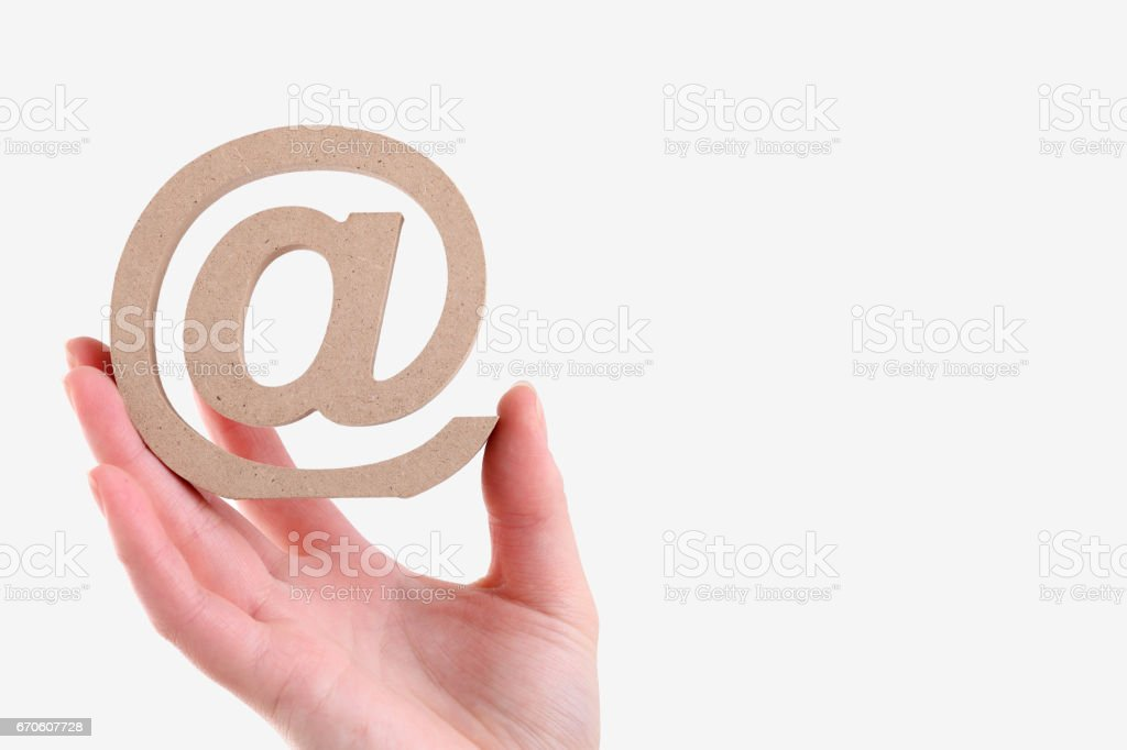 Hand Holding Wooden Email Symbol Stock Photo More Pictures Of At