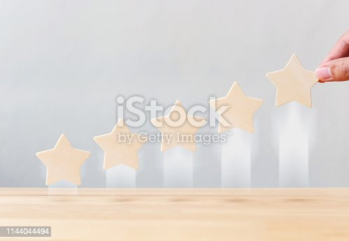 1133580311 istock photo Hand holding wooden five star shape growing growth increase quality on table. The best excellent business services rating customer experience concept 1144044494