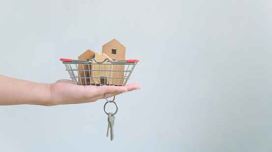 626187670 istock photo Hand holding wooden house in basket and home keychain. Property investment and house mortgage financial real estate concept 1202622690