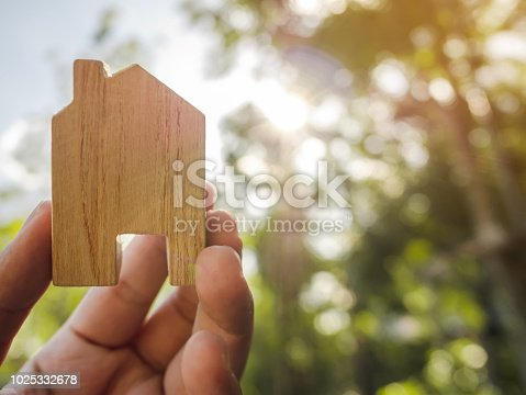 958039576istockphoto Hand holding wooden house with green forest background blurred and sun lighting 1025332678