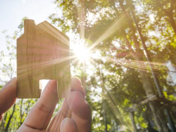 녹색 숲 배경 흐리게 및 태양 조명 나무 집을 들고 손 - 지속가능한 생활양식 뉴스 사진 이미지