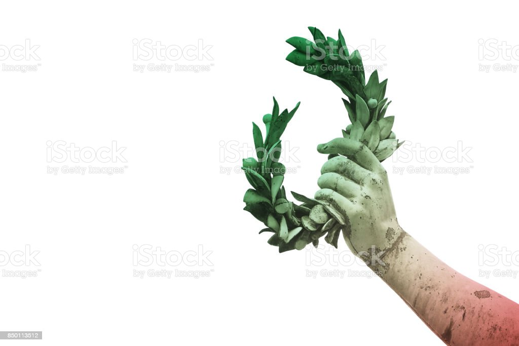 Hand holds a laurel wreath - bronze statue on italian flag background - Success and fame concept image - image with copy space stock photo