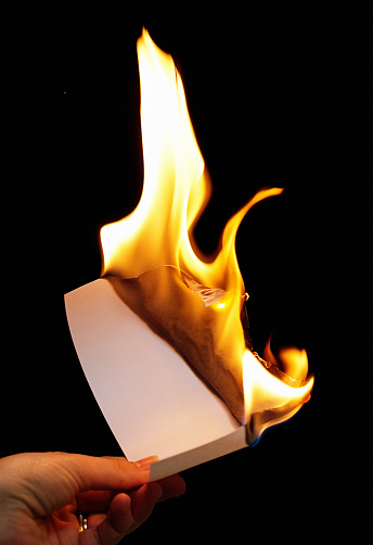 Image result for burning a piece of paper