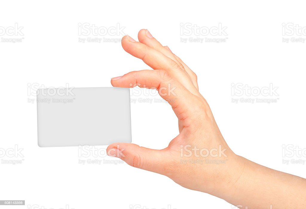 Hand holds business card on white stock photo