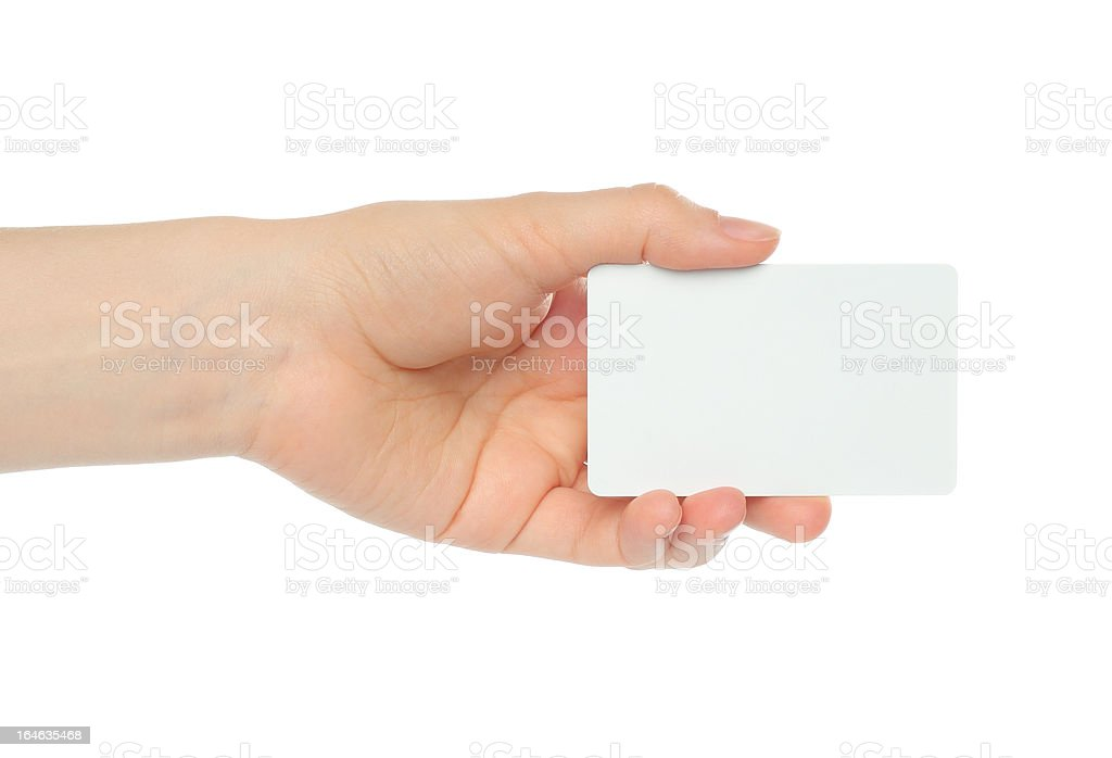 Hand holds charge card royalty-free stock photo