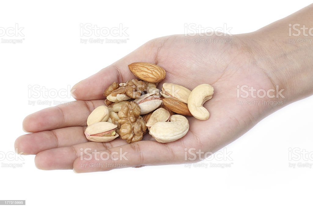 Hand holds nuts isolated on white royalty-free stock photo