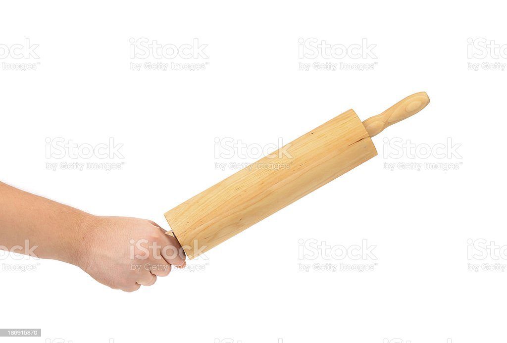 Hand Holds Rolling-Pin royalty-free stock photo