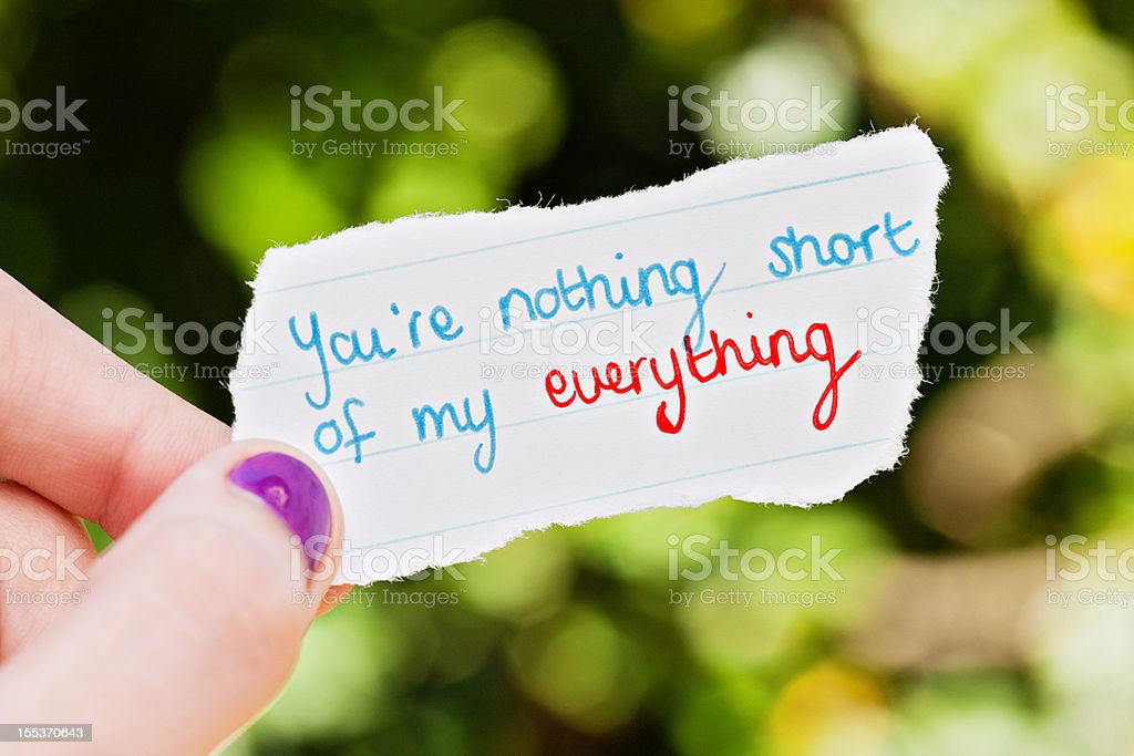 Hand holds romantic hand-drawn message: you're everything.. royalty-free stock photo