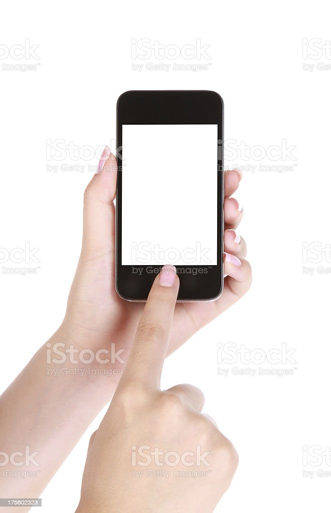 Hand holds smartphone on white background royalty-free stock photo