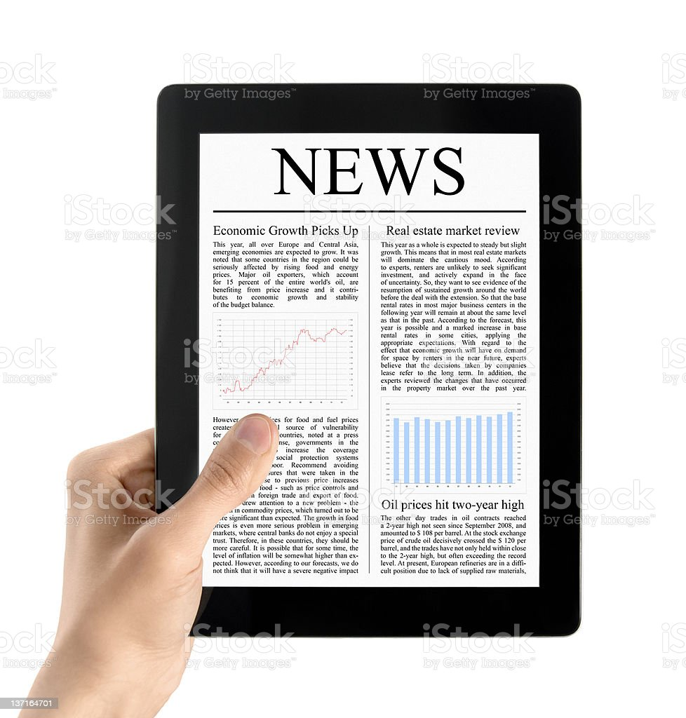 Hand Holds Tablet PC With News Isolated royalty-free stock photo
