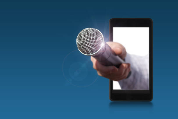 hand holds the microphone for an interview. - recorder stock photos and pictures