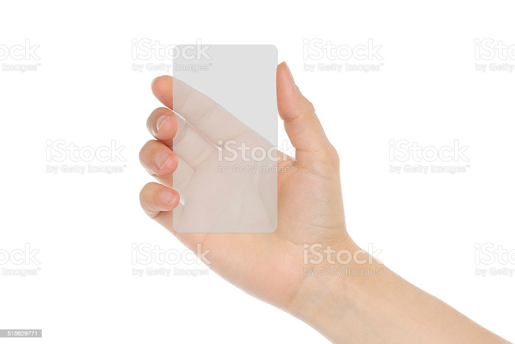 Hand-Halterungen transparente Karte – Foto