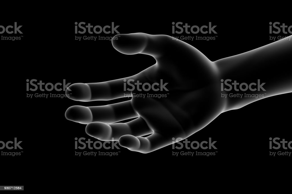 3D illustration of a hand, human body part. Isolated on black...
