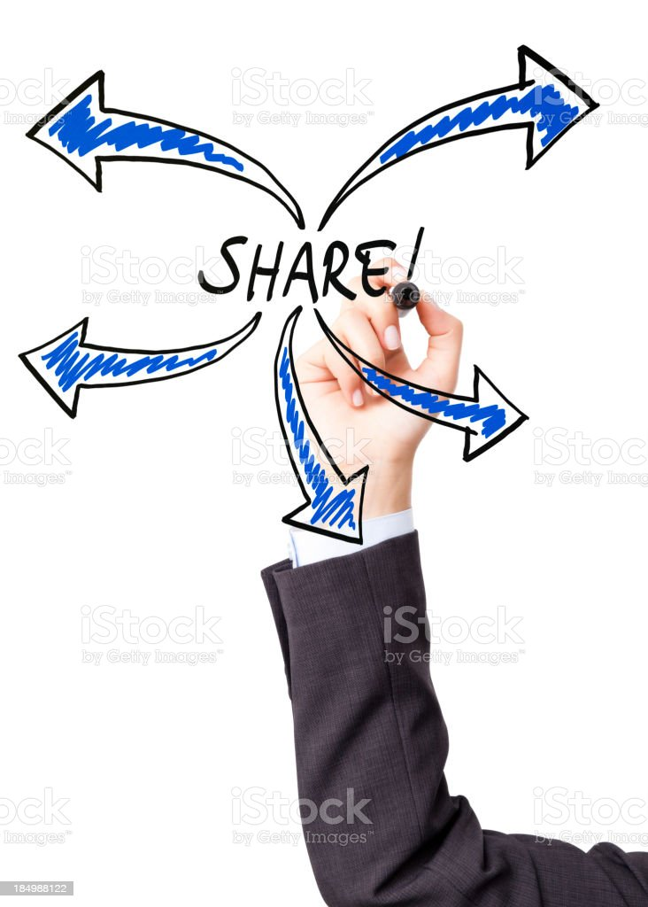 Hand illustrating the concept of sharing stock photo