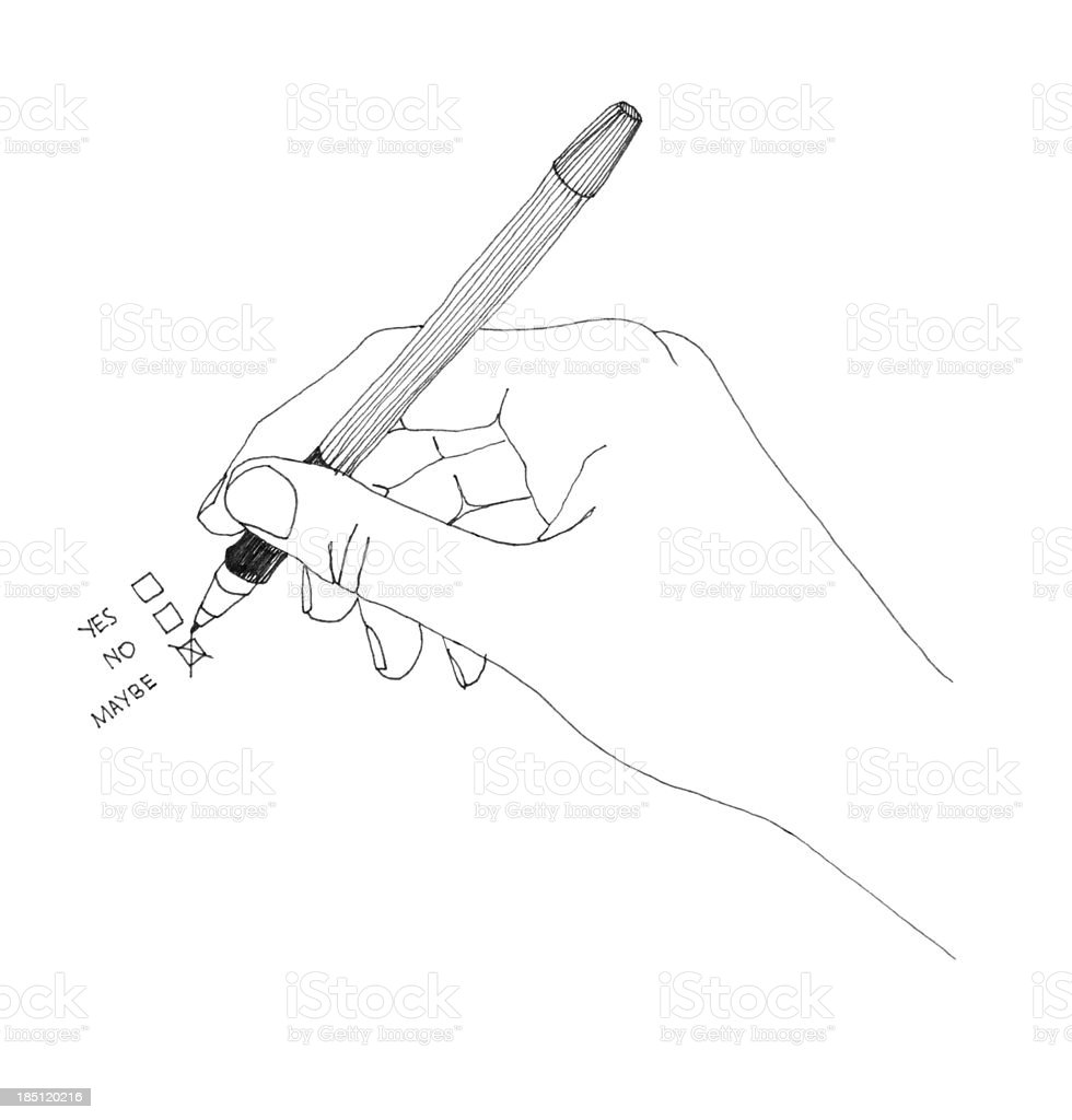 hand illustration choosing maybe box royalty-free stock photo