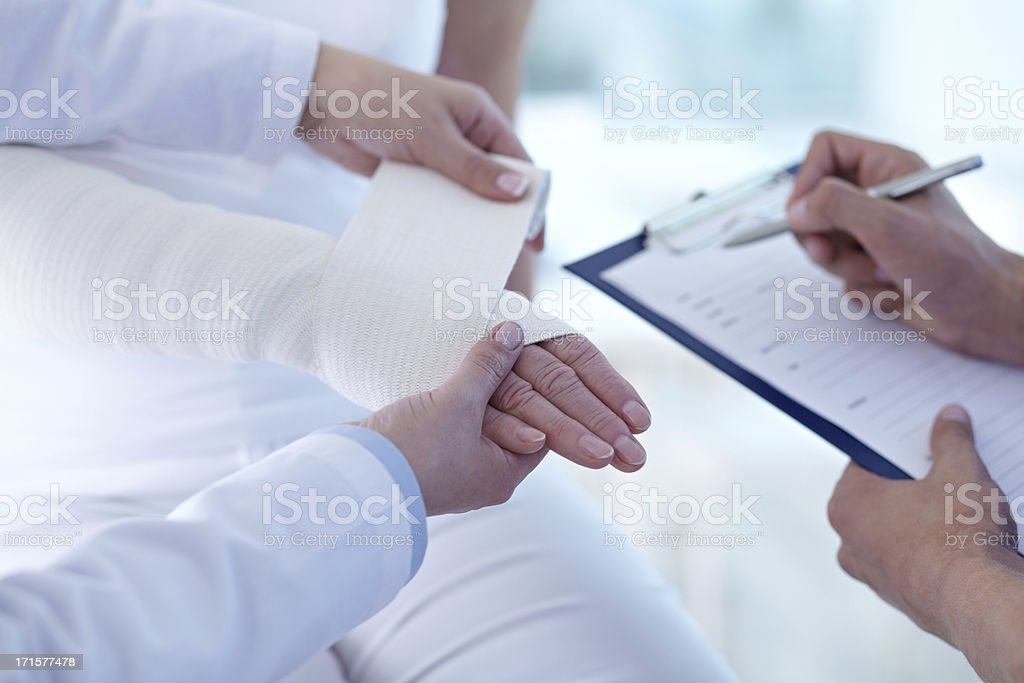 Hand in bandage stock photo