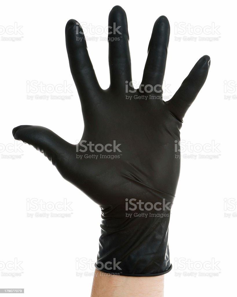 Hand in Black Glove - Stop stock photo