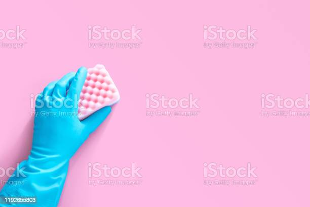 Hand in blue rubber glove holding pink cleaning sponge isolated on picture id1192655803?b=1&k=6&m=1192655803&s=612x612&h=v99yqnznojebo oi1hgf3f6cmkai9zlxt6 o2rsw pm=