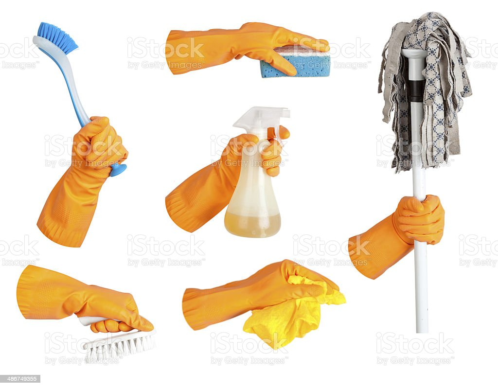 Hand in glove, tool set stock photo